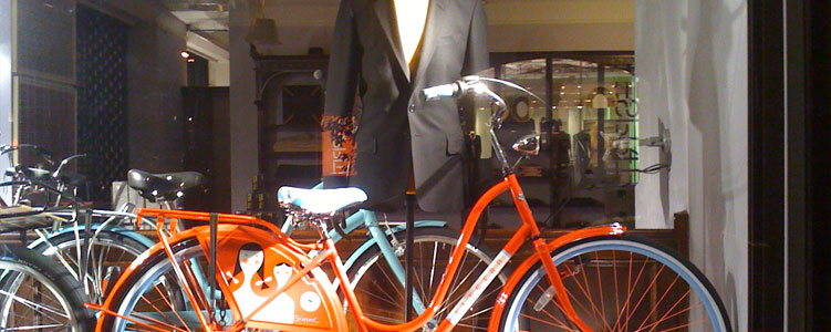designer Paul Smith's Window on 5th Avnenue in New York City, Featuring Electra Bicycles